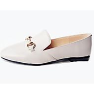baratos Sapatos Femininos-Mulheres Pele Napa Outono Doce / Minimalismo Rasos Sem Salto Ponta quadrada Botão Cinzento Claro / Rosa claro