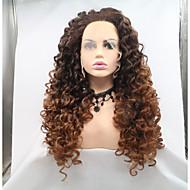 합성 레이스 프론트 가발 아프리카 킨키 스타일 레이어드 헤어컷 전면 레이스 가발 다크 브라운 밝은 브라운 인조 합성 헤어 24 인치 여성용 여성 다크 브라운 / 라이트 브라운 가발 긴 Sylvia 130 % 인간의 머리카락 밀도 내츄럴 가발