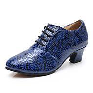billige Jazz-sko-Dame Jazz-sko Nappa Lær Høye hæler Kubansk hæl Dansesko Blå