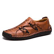 tanie Obuwie męskie-Męskie Skórzane buty Skóra Wiosna i jesień Biznes / Casual Mokasyny i buty wsuwane Żółty / Ciemnobrązowy / Burgundowy