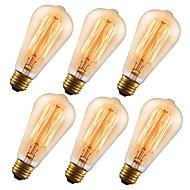billige Glødelampe-GMY® 6pcs 60 W E26 ST64 Ravgult 2200 k Kontor / Bedrift / Mulighet for demping / Dekorativ Glødende Vintage Edison lyspære 110-130 V