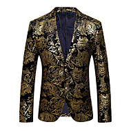 cheap -Men's Party / Daily / Club Sophisticated / Exaggerated Spring / Fall Regular Blazer, Floral V Neck Long Sleeve Cotton / Polyester Print Gold / Silver XL / XXL / XXXL / Slim