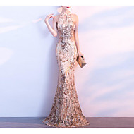 cheap -Mermaid / Trumpet Jewel Neck Floor Length Sequined Formal Evening Dress with Beading / Sequin / Crystals by LAN TING Express