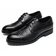 tanie Obuwie męskie-Męskie Komfortowe buty PU Wiosna i lato Casual Oksfordki Antypoślizgowe Czarny / Brązowy