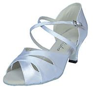 Femme Chaussures Latines Satin Sandale Talon Cubain Personnalisables Chaussures de danse Amande / Rouge / Bleu marine