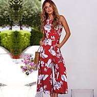 Dames Strand Street chic Wit Rood Jumpsuit, Bloemen Print M L XL Mouwloos