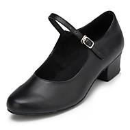 billige Moderne sko-Dame Moderne sko Lær Høye hæler Tvinning Tykk hæl Kan spesialtilpasses Dansesko Svart