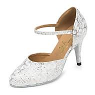 billige Moderne sko-Dame Moderne sko Chiffon Høye hæler Blonder Slim High Heel Kan spesialtilpasses Dansesko Sølv