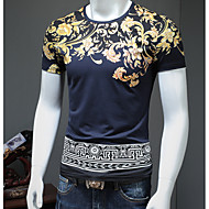 Men's Vintage / Basic Plus Size Cotton T-shirt - Print Round Neck / Short Sleeve