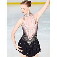 cheap -Figure Skating Dress Women's / Girls' Ice Skating Dress Black Open Back Halo Dyeing Spandex Micro-elastic Professional / Competition Skating Wear Handmade Sequin Sleeveless Figure Skating