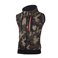 Per uomo Taglia piccola Senza maniche Felpa con cappuccio Camouflage Rotonda