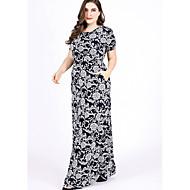 מקסי דפוס, גיאומטרי - שמלה ישרה רזה בגדי ריקוד נשים
