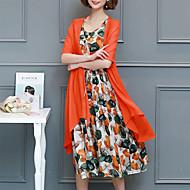 فستان نسائي كلاسيكي عصري أساسي النمط الصيني طباعة ميدي ورد