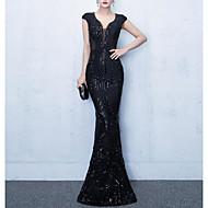 Sereia Decote V Longo Paetês Inspiração Vintage Evento Formal Vestido com Lantejoulas / Detalhes em Cristal / Bordado de LAN TING Express