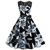 Γυναικεία Βίντατζ Κομψό Swing Φόρεμα - Φλοράλ Ως το Γόνατο