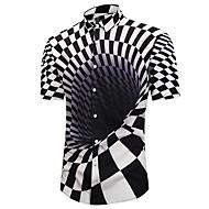 Herre - Geometrisk / 3D / Grafisk Trykt mønster Basale / overdrevet Strand Skjorte Sort og hvid Orange L / Kortærmet / Sommer