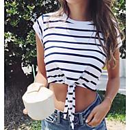 Kvinders asiatiske størrelse slank t-shirt - stribet rundt hals