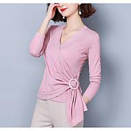 Damen Solide Bluse, V-Ausschnitt Schlank Rosa XL