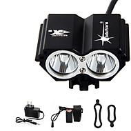 Hodelykter Sykkellykter LED Cree® T6 2 emittere 3000 lm 4.0 lys tilstand med batteri og lader Vanntett Oppladbar Nødsituasjon Sykling