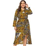 Kadın's Büyük Bedenler Temel Kılıf Elbise - Leopar V Yaka Midi Yüksek Bel / Sexy