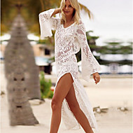 Women's Plunging Neck White Skirt Cover-Up Swimwear - Solid Colored Lace M L XL White / Sexy