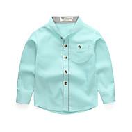 Barn / Baby Gutt Grunnleggende / Gatemote Daglig / Skole Ensfarget Langermet Normal Bomull Skjorte Rosa