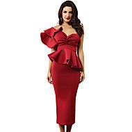 Damen Party Elegant Skinny Bodycon Kleid - Schößchen Rüsche Midi Sweetheart