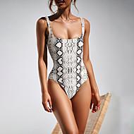 Mulheres Boho Com Alças Marron Preto Cinzento Bandeau Cavado Maiô Roupa de Banho - Animal Estampado M L XL Marron / Sexy