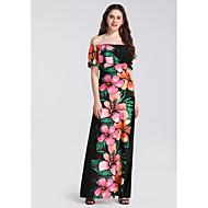 Mujer Básico Elegante Pitillo Corte Swing Vestido - Estampado, Floral Alta cintura Maxi Hombros Caídos