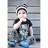 Dziecko Dla chłopców Aktywny / Podstawowy Geometric Shape / Nadruk Nadruk Krótki rękaw Regularny Regularny Bawełna / Poliester Komplet odzieży Czarny