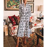 Damskie Elegancja Swing Sukienka - Geometric Shape, Nadruk Midi