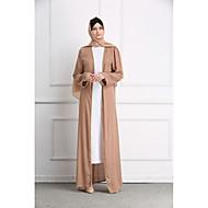 Femme Bohème Elégant Maxi Abaya Kaftan Robe - Perlé, Couleur Pleine Blanc Noir Kaki L XL XXL Manches Longues