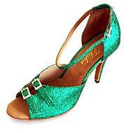 Жен. Обувь для латины Синтетика На каблуках Кристаллы Тонкий высокий каблук Персонализируемая Танцевальная обувь Зеленый