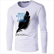 T-shirt Męskie Nadruk Bawełna Okrągły dekolt Solidne kolory Granatowy XXXL