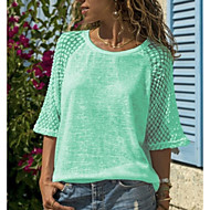 Women's Plus Size T-shirt - Solid Colored Lace / Patchwork White XXXL