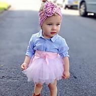 Baba Lány Aktív Csíkos Hosszú ujj Szokványos Poliészter Ruházat szett Arcpír rózsaszín