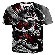 Tee-shirt Homme, Bloc de Couleur / 3D / Crânes - Coton Imprimé Col Arrondi Gris XL