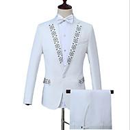 povoljno -Muškarci Rad Posao Normalne dužine odijela, Geometrijski oblici Petar Pan kragna Dugih rukava Poliester Obala S / M / L / Poslovno formalno