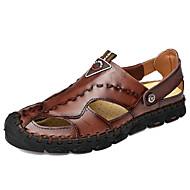 levne -Pánské Kožené boty Kůže Léto Business / Na běžné nošení Sandály Chůze Prodyšné Černá / Světle hnědá / Tmavěhnědá