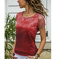Women's Plus Size Slim T-shirt - Solid Colored Red XXXL