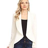 Femme Blazer, Couleur Pleine Revers Cranté Polyester Noir / Rose Claire / Kaki S / M / L