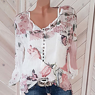 cheap -Women's Street chic Loose Blouse - Floral Print V Neck / Spring / Summer / Fall