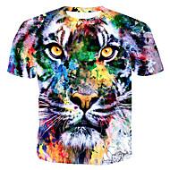 남성용 컬러 블럭 / 3D / 동물 라운드 넥 프린트 - 티셔츠 면 레인보우 XL