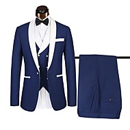Tuxedos Standard Fit Shawl Collar Single Breasted One-button Polyster Color Block
