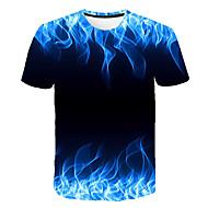 Hombre Estampado Camiseta, Escote Redondo Geométrico Arco Iris XXXL