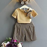 Çocuklar Genç Kız Sokak Şıklığı Çizgili Kısa Kollu Normal Polyester Kıyafet Seti Sarı