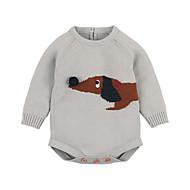 Baby Boys' Basic Print Animal Pattern / Knitted / Buckle Long Sleeve Cotton Romper Light Blue / Toddler