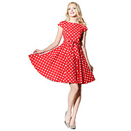 Damen Retro Swing Kleid - Druck Knielang