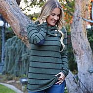 Dámské - Proužky Větší velikosti Tričko, Volány Štíhlý Trávová zelená L