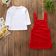 Kinder / Baby Mädchen Aktiv / Grundlegend Solide Langarm Baumwolle / Elasthan Kleidungs Set Rote